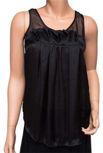 BCBGMAXAZRIA Silk Mesh Loose Top Black