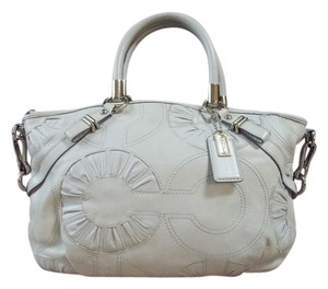 Coach Satchel in Light Grey/Silver