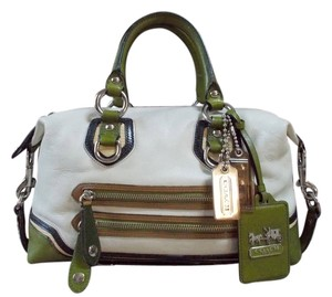 Coach Satchel in White/Green/Brown