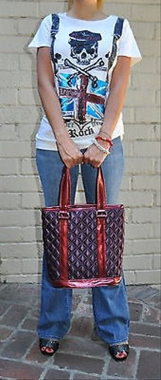 Marc Jacobs Quilted Satin Bucket Dk Tote in Purples