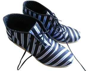 TOMS Collaboration Tabitha Simmons Comfortable Striped Bold Stripe Blue/White stripes Wedges
