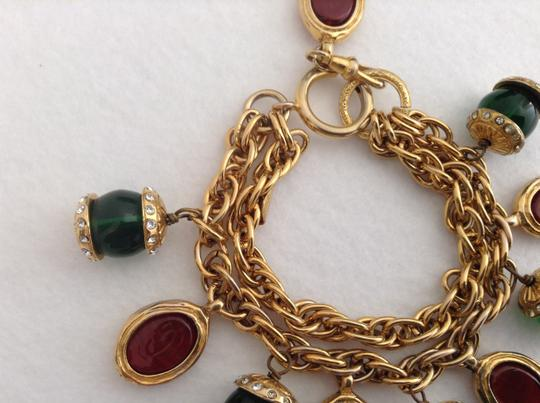 Chanel CHANEL RARE VINTAGE GOLD PLATED GRIPOIX CRYSTAL BRACELET