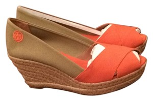 Tory Burch Orange Wedges