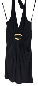 BCBGMAXAZRIA Sexy Halter With Gold Accent Detail Dress