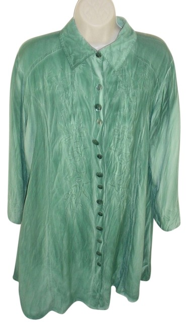Item - Mottled Shirt 1x New Button Front Embroidered Tunic Size 18 (XL, Plus 0x)