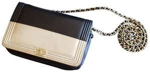 Chanel Chanel Black/Gold Lambskin Boy Wallet on Chain WOC with Gold Chain