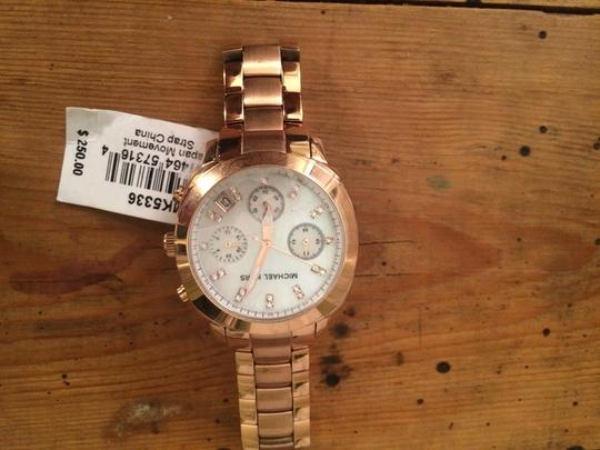 Michael Kors Michael Kors Rose Gold Stainless Steel Mop Dial With Crystals Chronograph Watch MK5336