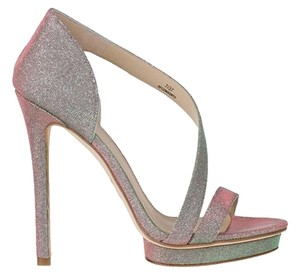 B Brian Atwood Platform Strappy Iridescent Silver Size 7 Pumps