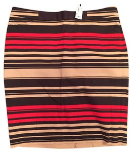 The Limited Tags New Skirt red, tan, brown strip