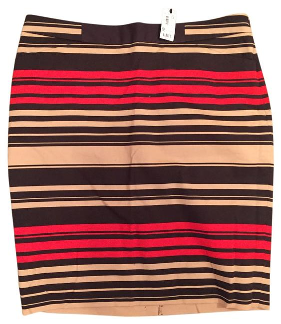 The Limited Tags New Pattern Skirt red, tan, brown strip