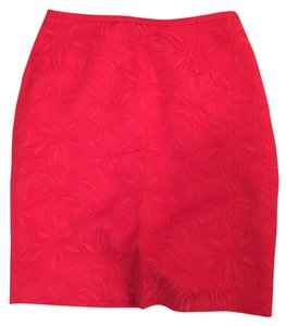 The Limited Print Red Textured Work Wear Mini Skirt Red/Coral