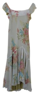 White with Apple green lining and floral print Maxi Dress by Romantic