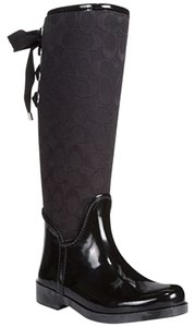 Coach Rain Boot Tristee Rainboot Cc Black Boots