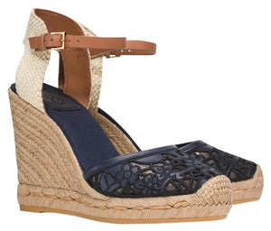 Tory Burch 51148403 Lucia Lace Espadrille Natural Tan Size 7 Black And Navy Wedges