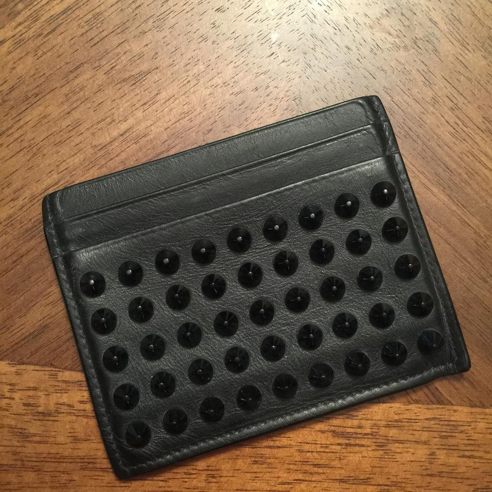 39db57454e5 Christian Louboutin Black Kios Spikes Card Holder Leather Wallet 46% off  retail