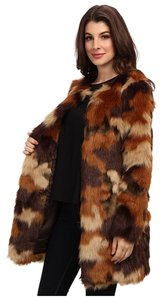 Michael Kors Mf42g600np Camo Camouflage Faux Fur Mk Michael Brown Tan Xxs Extra Extra Small Caramel F14 Nwt Fur Coat