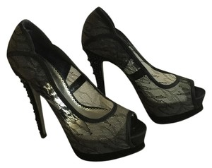 bebe Lace Platform Peep Toe Black Pumps