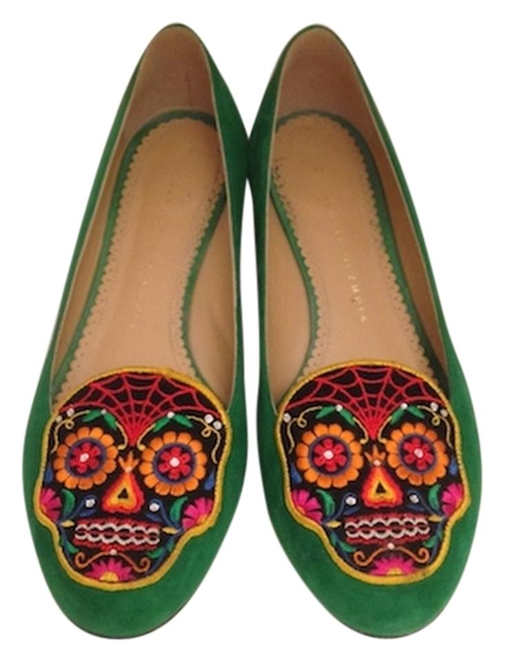 Charlotte Dead Olympia Green Day Of The Dead Charlotte Suede Skull Slippers Pumps 60a52f