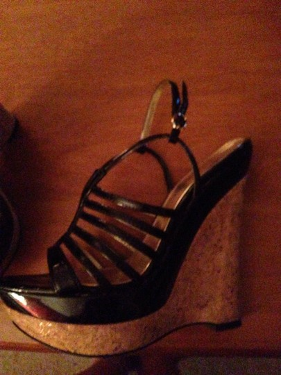 bebe Strappy Patent Leather Black and Cork Wedges