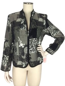 dressbarn Tapestry Zipper Front Black & White Jacket