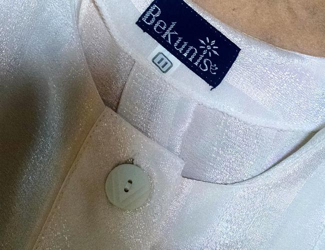 Bekunis Vintage Size 10/11 Short Sleeves Shiny P1700 Button Down Shirt ivory