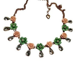 Betsey Johnson Betsey Johnson Drop Crystal Flower Bib Necklace New J1252