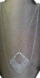 Other Antiqued Silver Necklace, Double Chain w/Unique Design Pendant