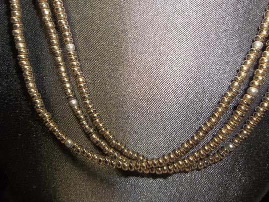 Other Antiqued Copper Necklace, Triple Strand, 17 Inches Long