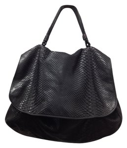 Snakeskin Leather Satchel in Black