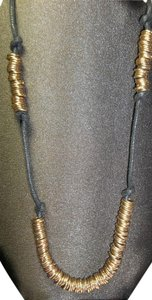 Extra Long Necklace, Black Leather Cord w/Gold Rings