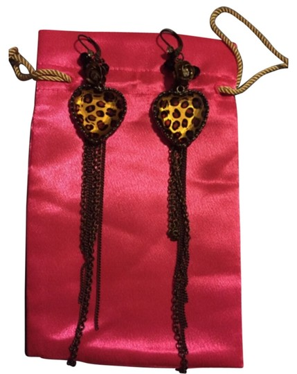 Betsey Johnson Betsey Johnson Leopard Heart Dangle Earrings