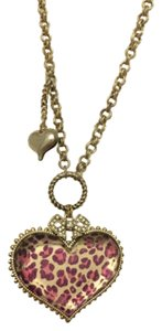 Betsey Johnson Betsey Johnson Leopard Print Heart Pendant Necklace