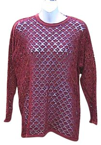 Pacific Connections Long Sleeve Crochet Pullover Sweater