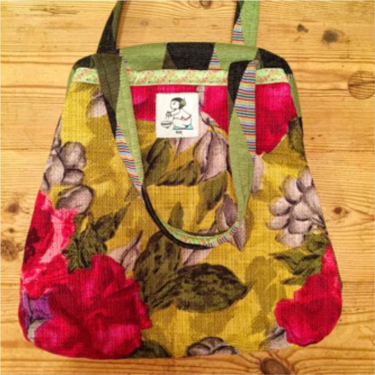 Rebe Eco Friendly Mixed Media Floral Hinge Structured Sac One Of A Kind Patchwork Bold Vibrant Pattern Spring Closure Hobo Bag