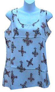 Liva Girl Brand New Chiffon Top Cream Cross Floral