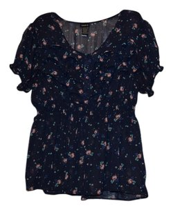 Torrid Floral Navy Sheer Polyester Ruffle Flowy Casual Date Night Girl's Night Spring Top Navy Floral