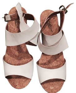 Lucky Brand White Lether and cork Wedges