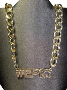 Claire's Gold Necklace, Large Flat Link Necklace w/# EPIC Wording