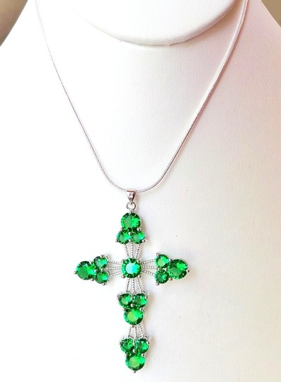 """Other Large 2.6"""" Green Emerald 925 Sterling Silver Cross Pendant Necklace"""