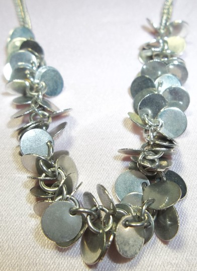 Other Silver Necklace, Double Chains w/Clusters of Flat Medallions
