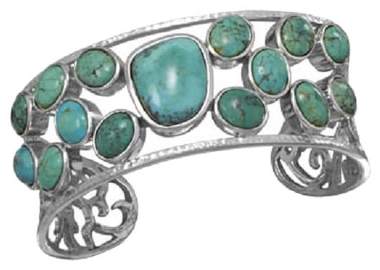 Other .925 Sterling Silver Abstract Oval Stabilized Turquoise Cuff Bracelet