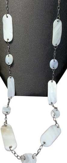 Other Silver Oval Link Chain Necklace, Embellished with Round & Oblong Bone Look Beads