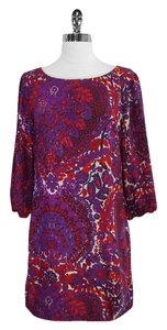 Trina Turk short dress Red Floral Print Silk Shift on Tradesy