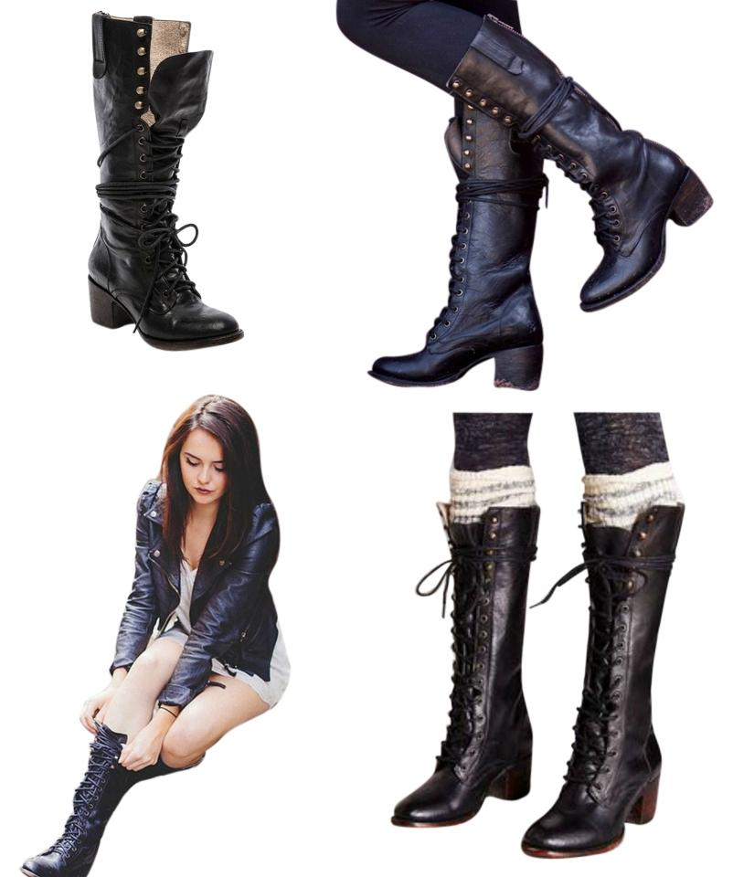 651474a43c7 FreeBird By Steven Granny Leather Lace Up Zipper Access Knee-high Size 8  New With ...