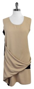 AllSaints short dress Safia Taupe Silk Sleeveless on Tradesy