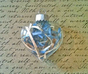 Blue Glass Heart Ornaments Wedding Favors