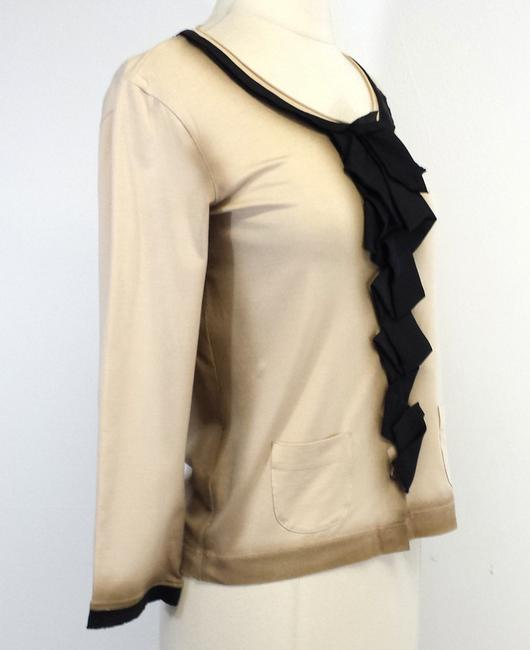 Prada Tan Black Silk Blend Cardigan