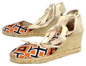 Tory Burch Orange Navy Print Canvas Wedges