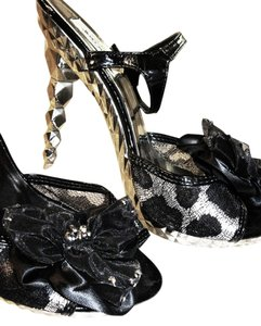 Summer Rio Rhinestones Ankle Strap Black and Silver Platforms