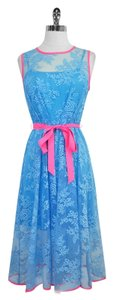 Eva Franco short dress Blue Neon Pink Lace on Tradesy